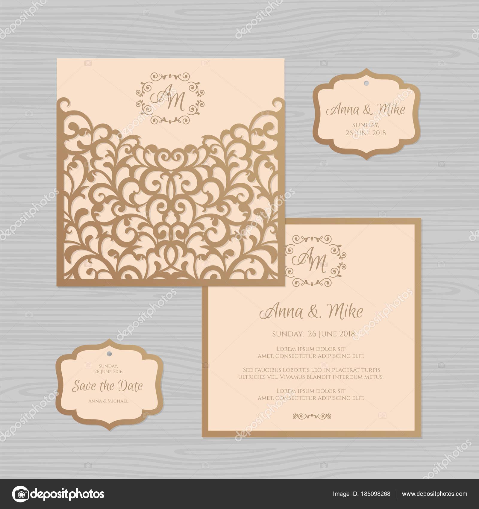 Hochzeitseinladung Oder Grußkarte Mit Vintage Ornament. Papierschablone  Spitze Umschlag. Hochzeit Einladung Umschlag Mock