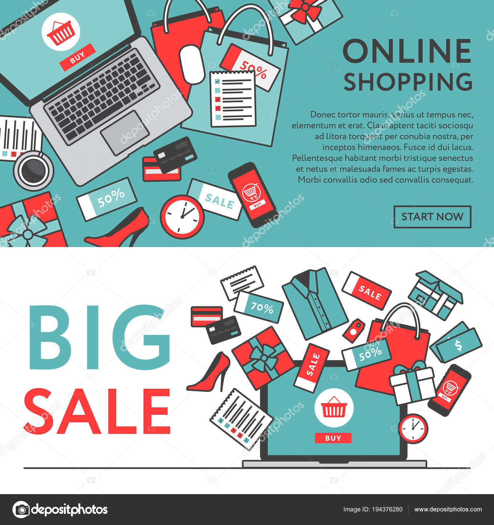 c46754a36e6 Интернет-магазин концепции. Интернет-магазин объектов и баннер. Таблица с  ноутбуков