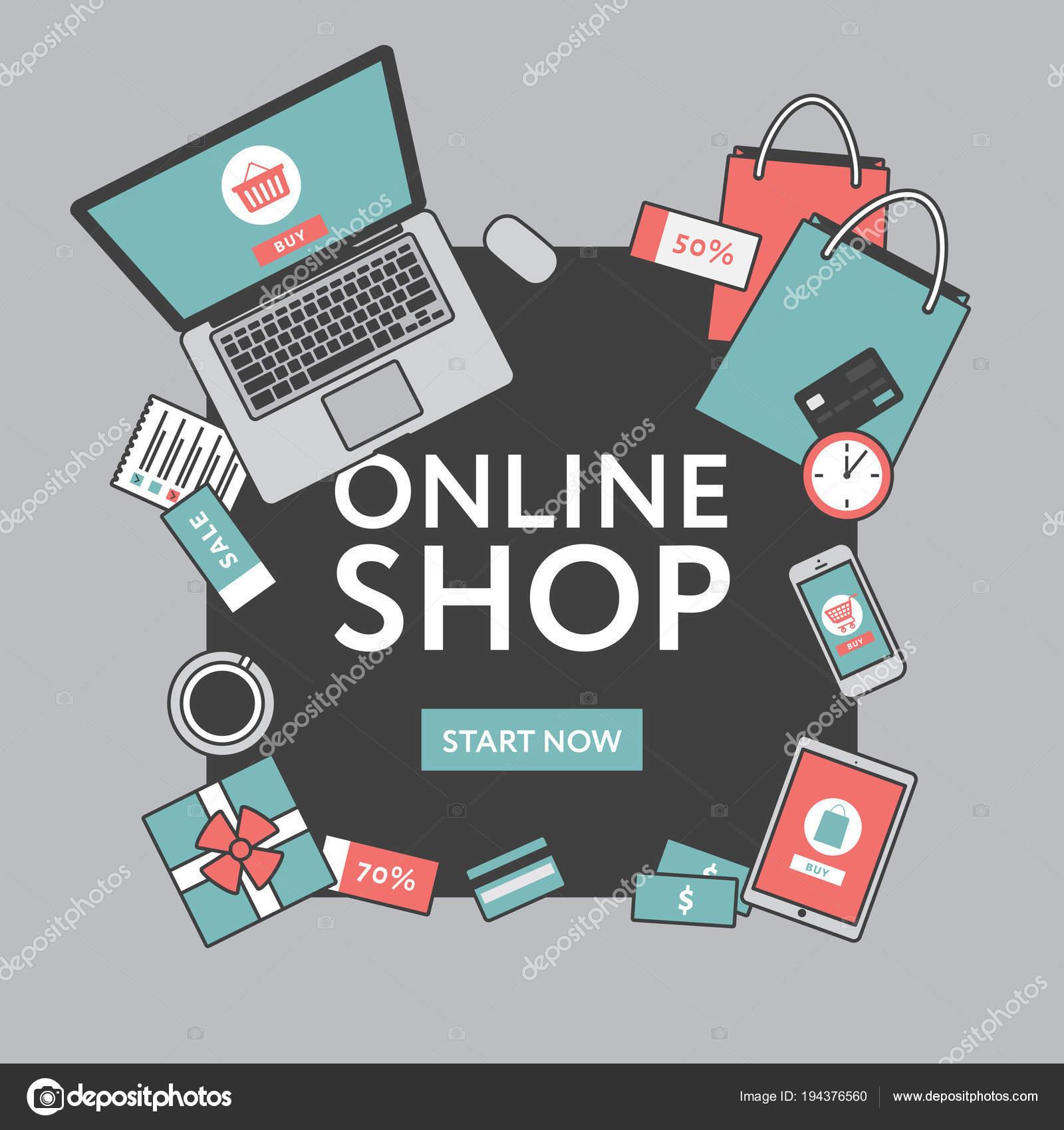 meet 417a8 777b4 Concetto di acquisto online. Negozio online oggetti e banner ...