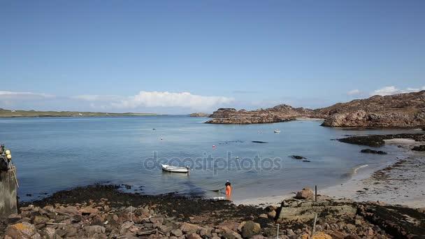 Fionnphort pláž Isle of Mull Skotsko Uk pan ostrov Iona