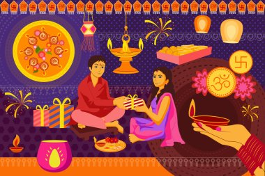Indian family celebrating Bhai Dooj during Happy Diwali festival background kitsch art India