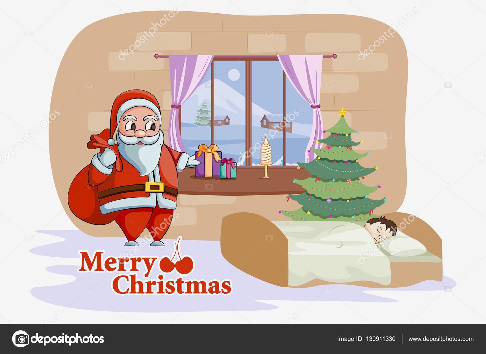 Weihnachtsmann stehend mit ungewöhnlichen Weihnachtsgeschenk Kind ...
