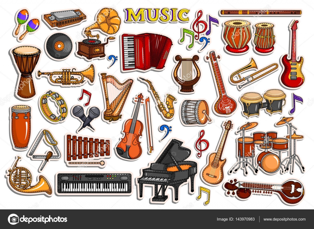 sticker collection for music and entertainment instrument object stock vector stockshoppe. Black Bedroom Furniture Sets. Home Design Ideas