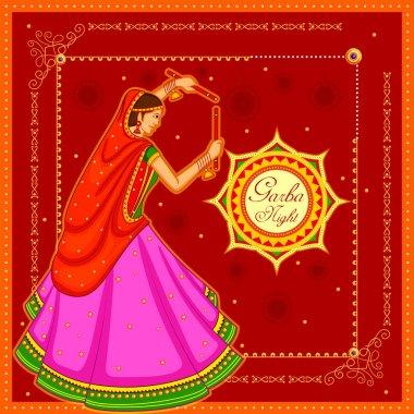 People performing Garba dance on poster banner design for Dandiya Night