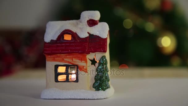 Christmas Toy House Candle Beautiful Snow Covered House Fire Windows