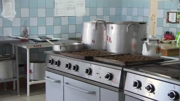 City of Yasny, Orenburg region, Russia, Komarovskaya school, 02.26.2018Kitchen in the school cafeteria. Catering for children in school.