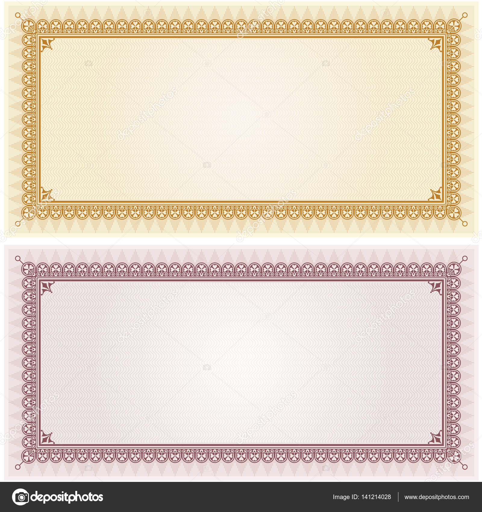 Certificate gift coupon blank template border frame background ...