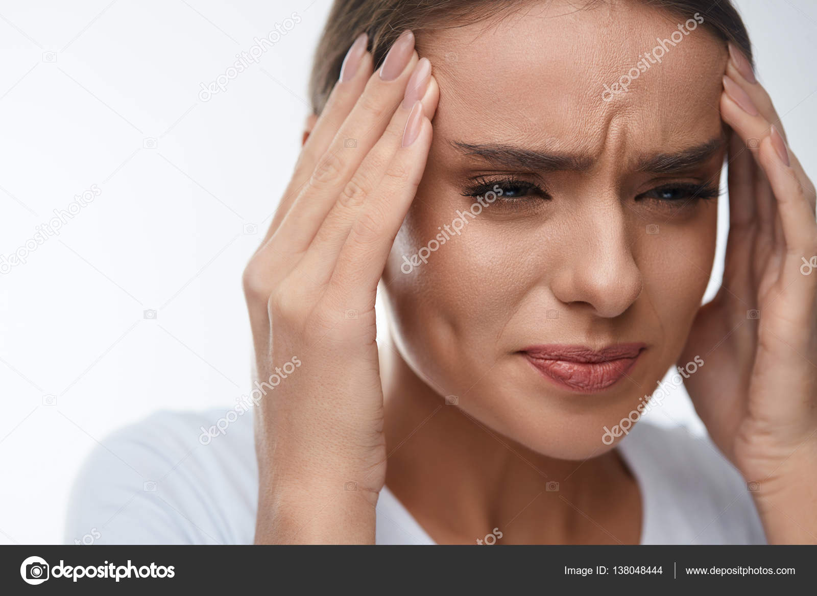 Headache Pain Beautiful Woman Having Painful Migraine Health
