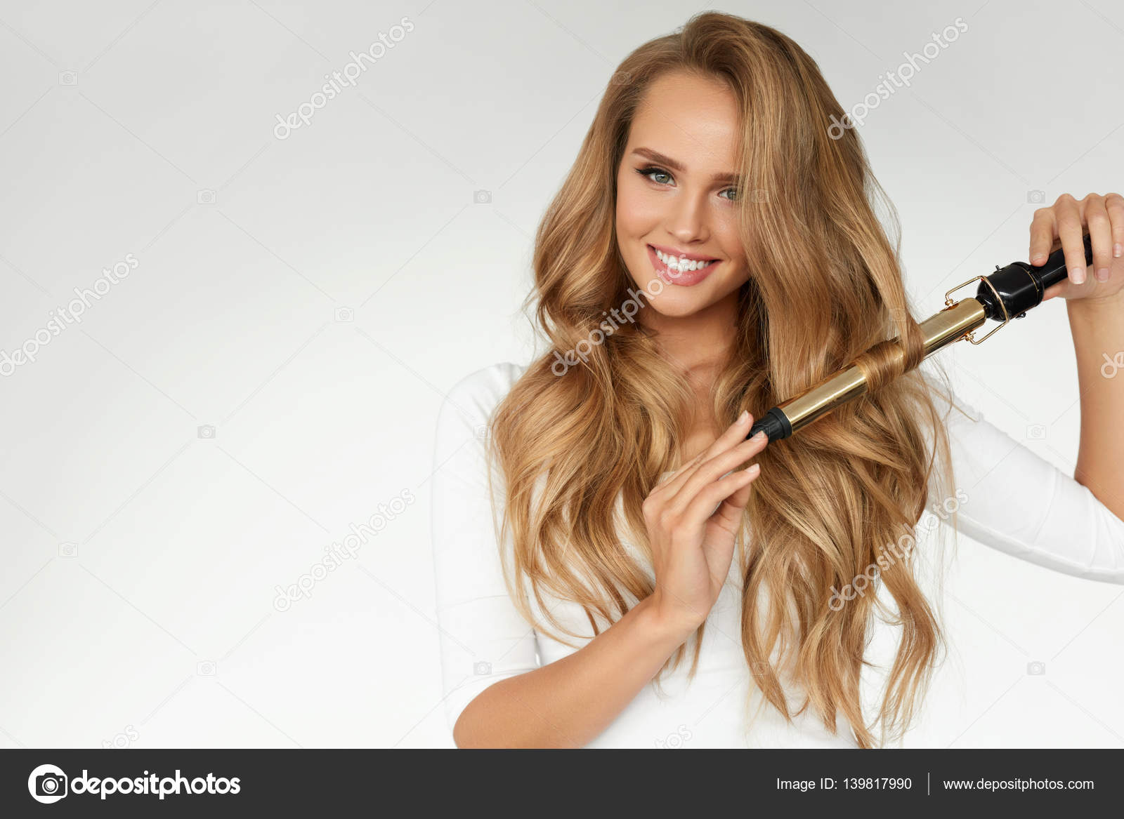 Curly Hair Beautiful Woman Curling Long Wavy Hair With