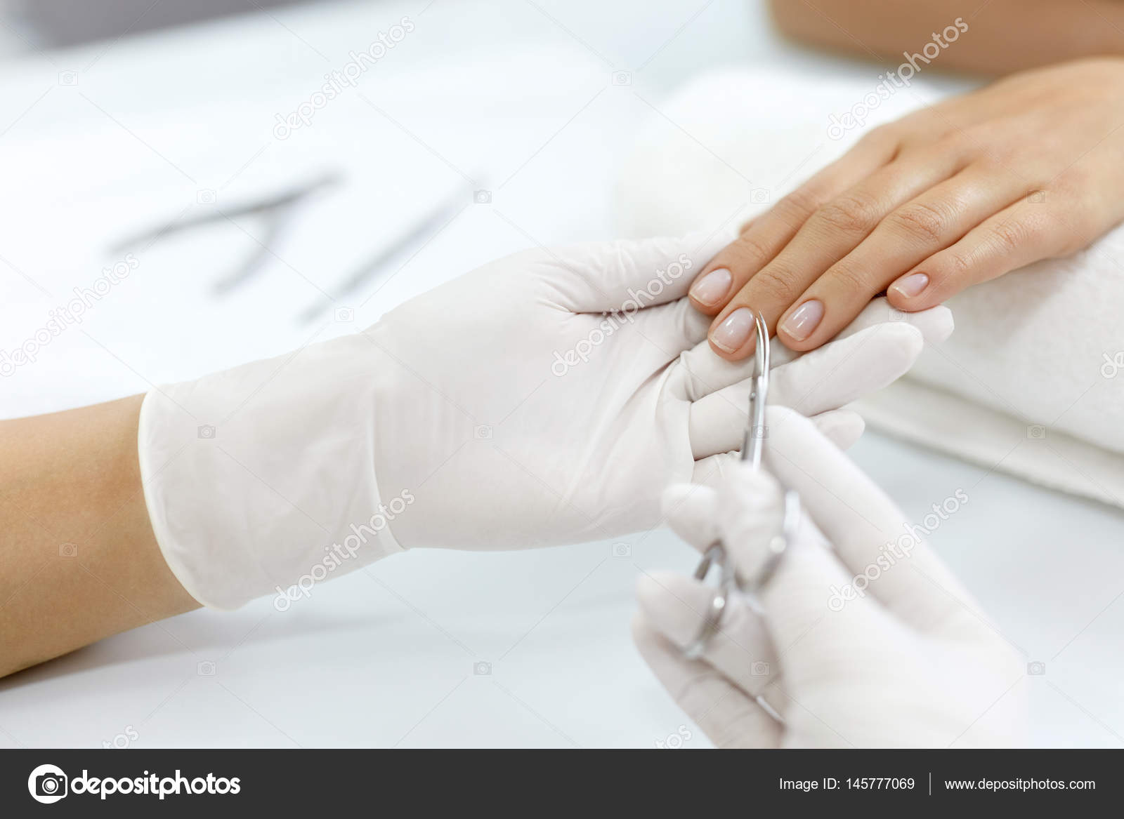 Nail Care. Female Hands Cutting Cuticles With Scissors. Manicure ...