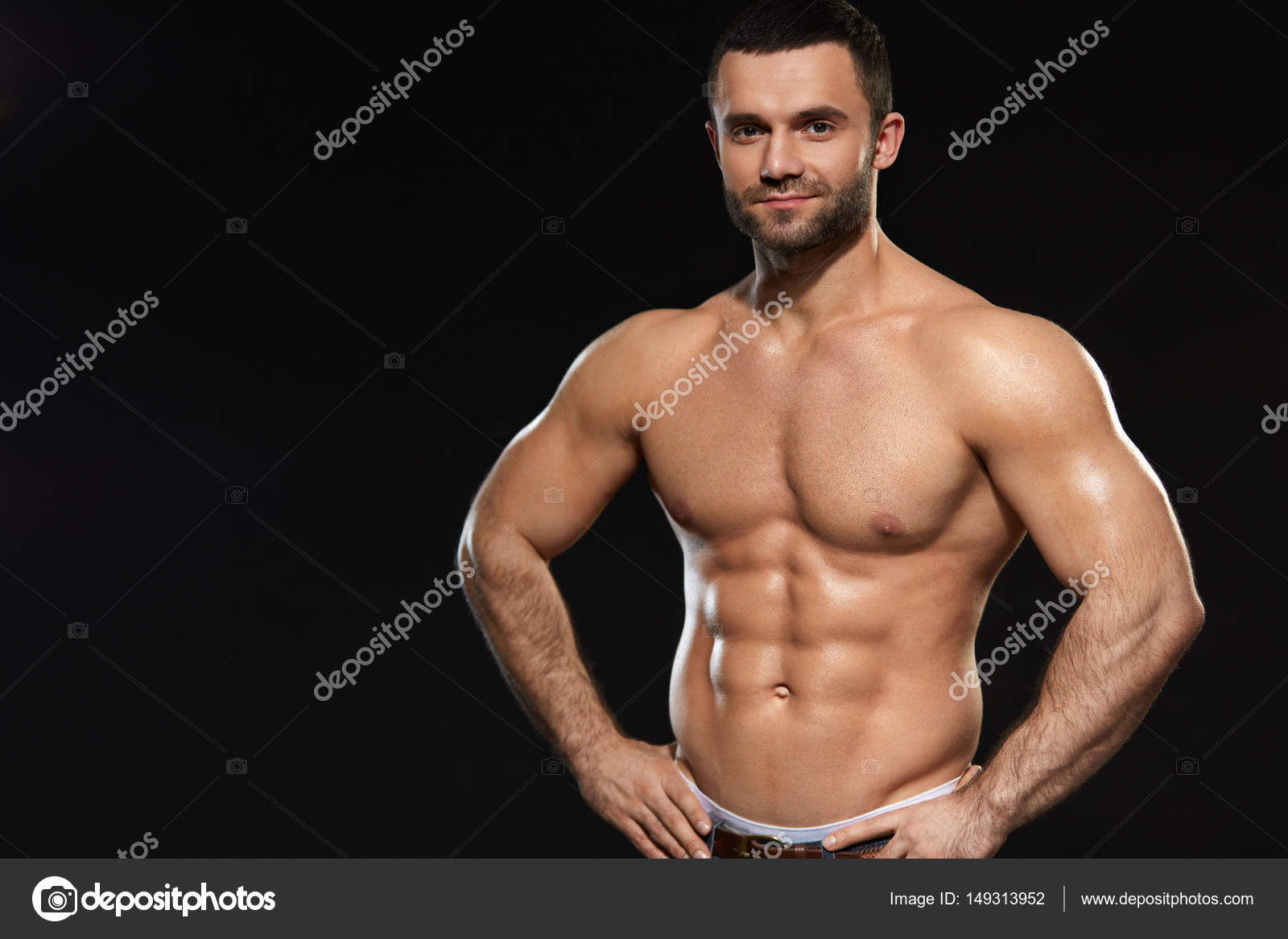 Man With Perfect Fit Abs And Muscular Body. Bodybuilding — Stock ...