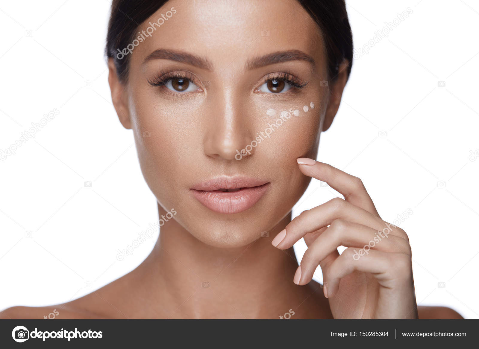 Woman Beauty Face With Concealer Under Eyes And Beautiful Makeup