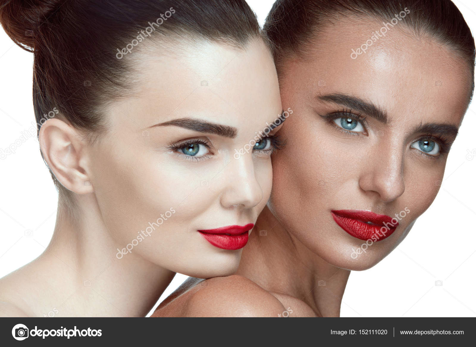 Woman Beauty Faces. Female Models With Glamour Facial Makeup, Fresh Soft  Healthy Skin And Glamorous Red Lips. Closeup Portrait Of Beautiful Sexy  Young Girls ...