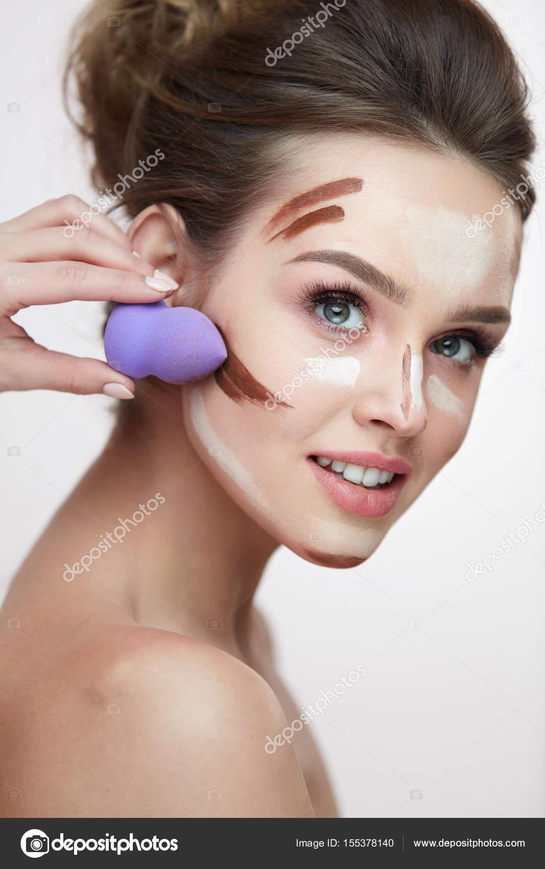 Twarz Uroda Makijaż Piękna Kobieta Stosowania Makijażu Z