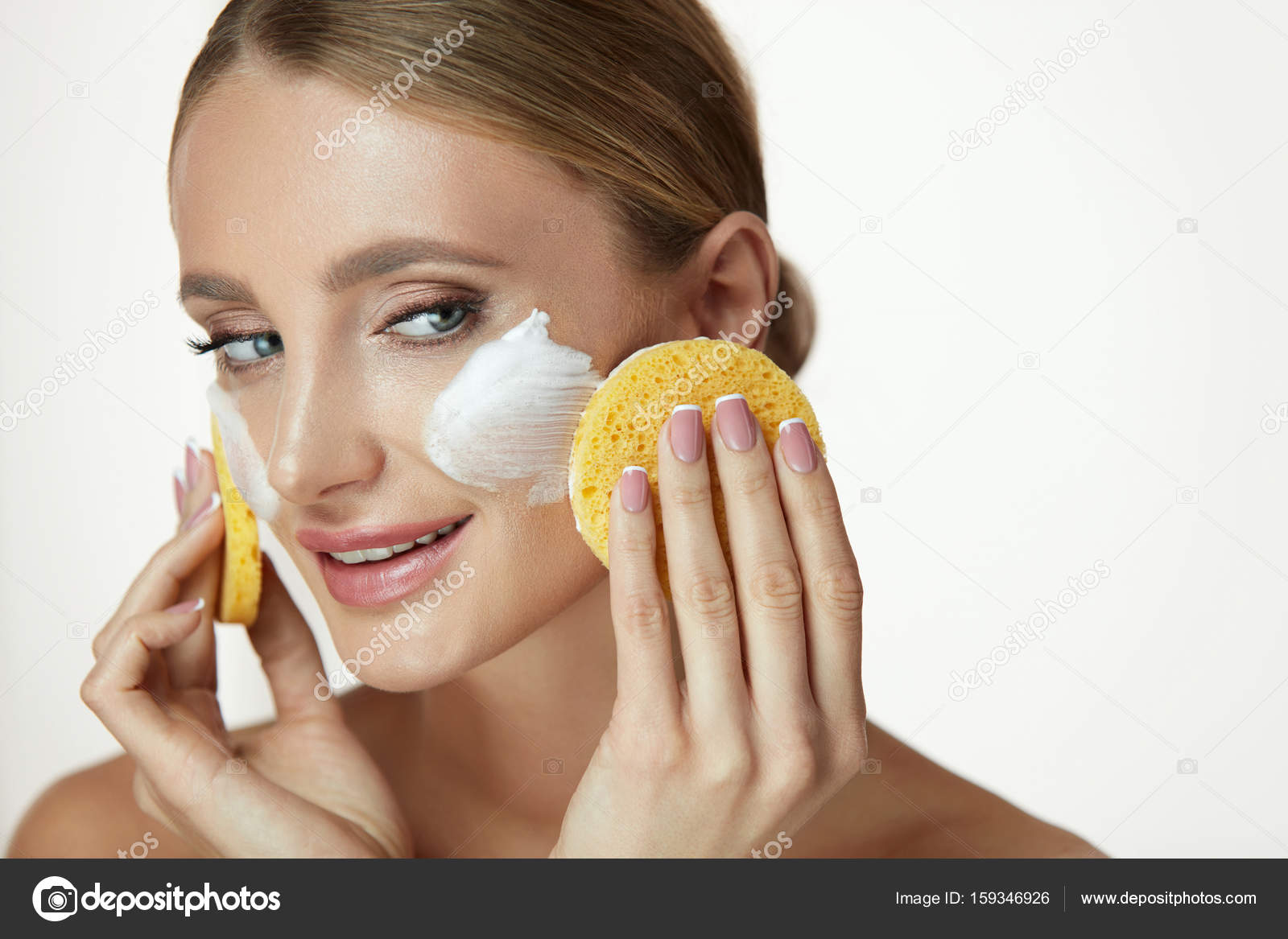 Face Skincare Beautiful Girl Cleaning Face With Soap And Sponge Stock Photo C Puhhha 159346926