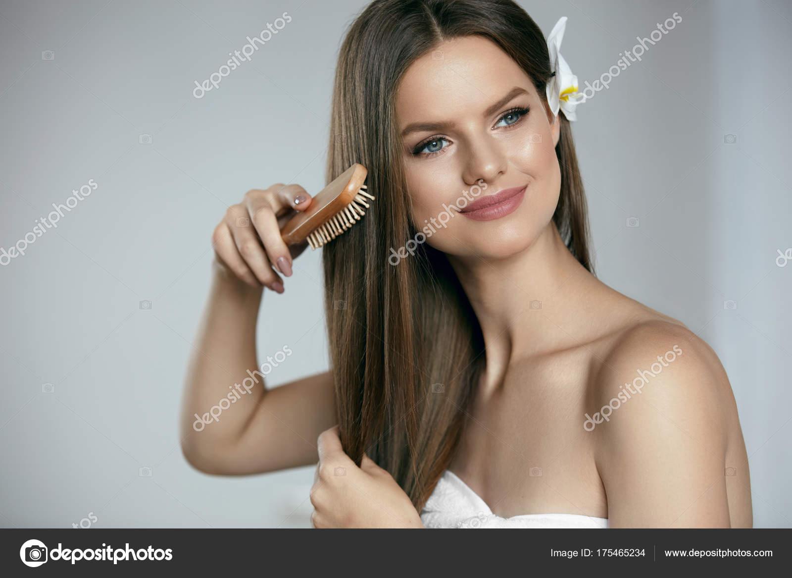 Madchen braune lange haare