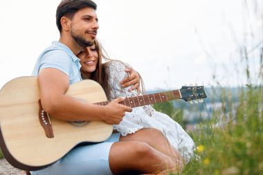 Beautiful Couple In Love On Picnic In Nature
