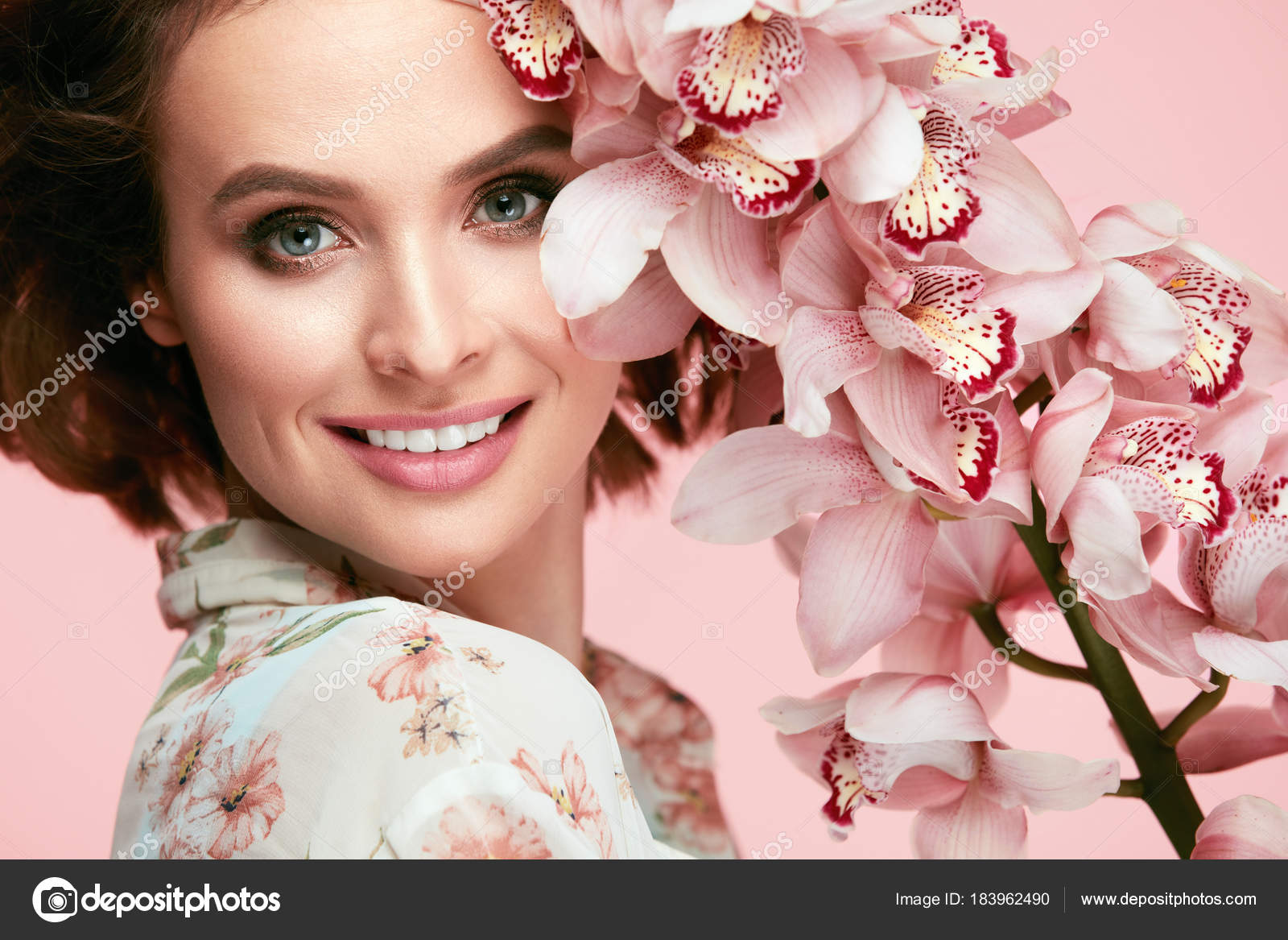 Beauty Makeup Beautiful Woman Face With Flowers Stock Photo