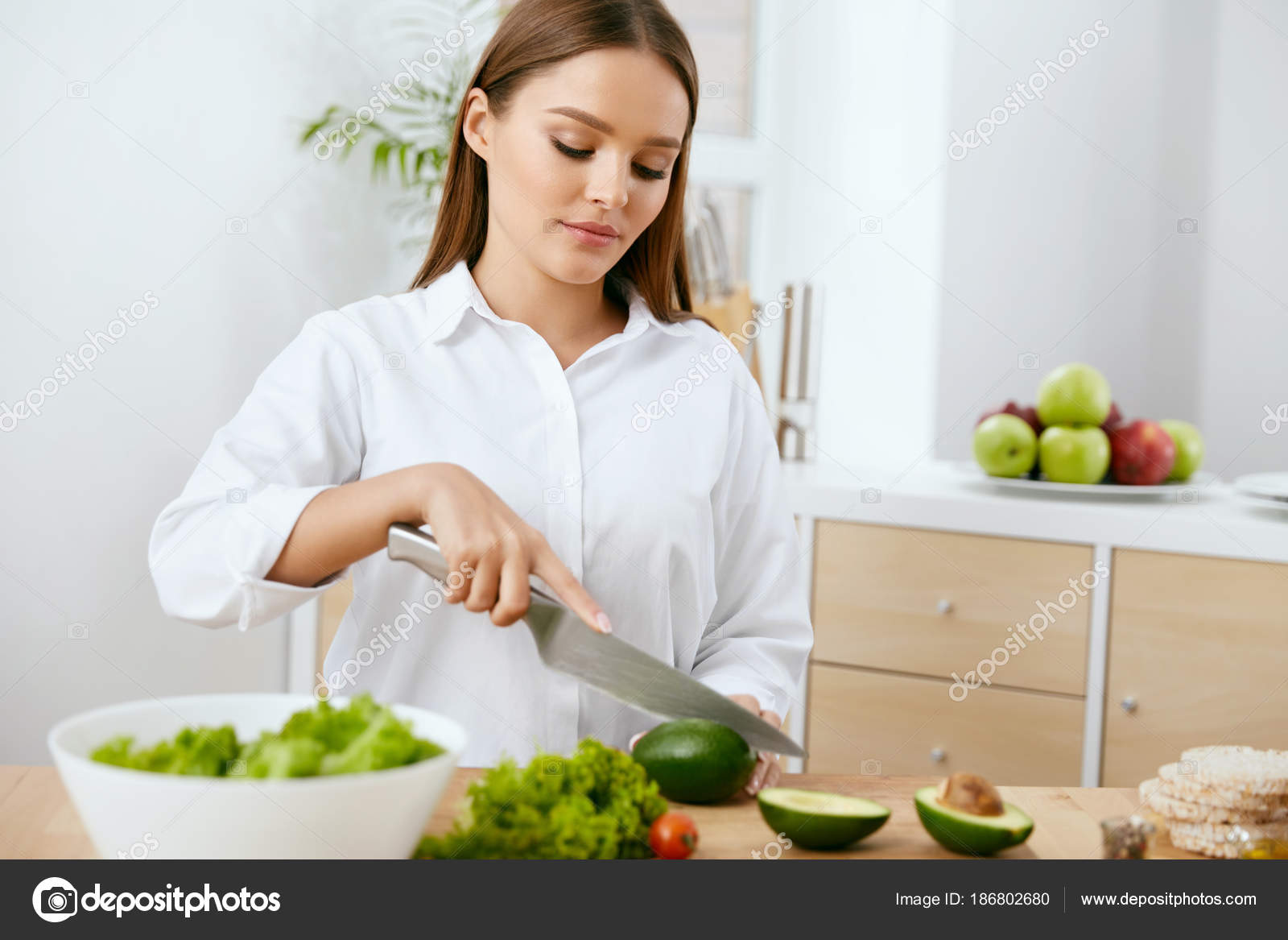 Nutrition. Woman Cooking Healthy Food In Kitchen. — Stock Photo ...