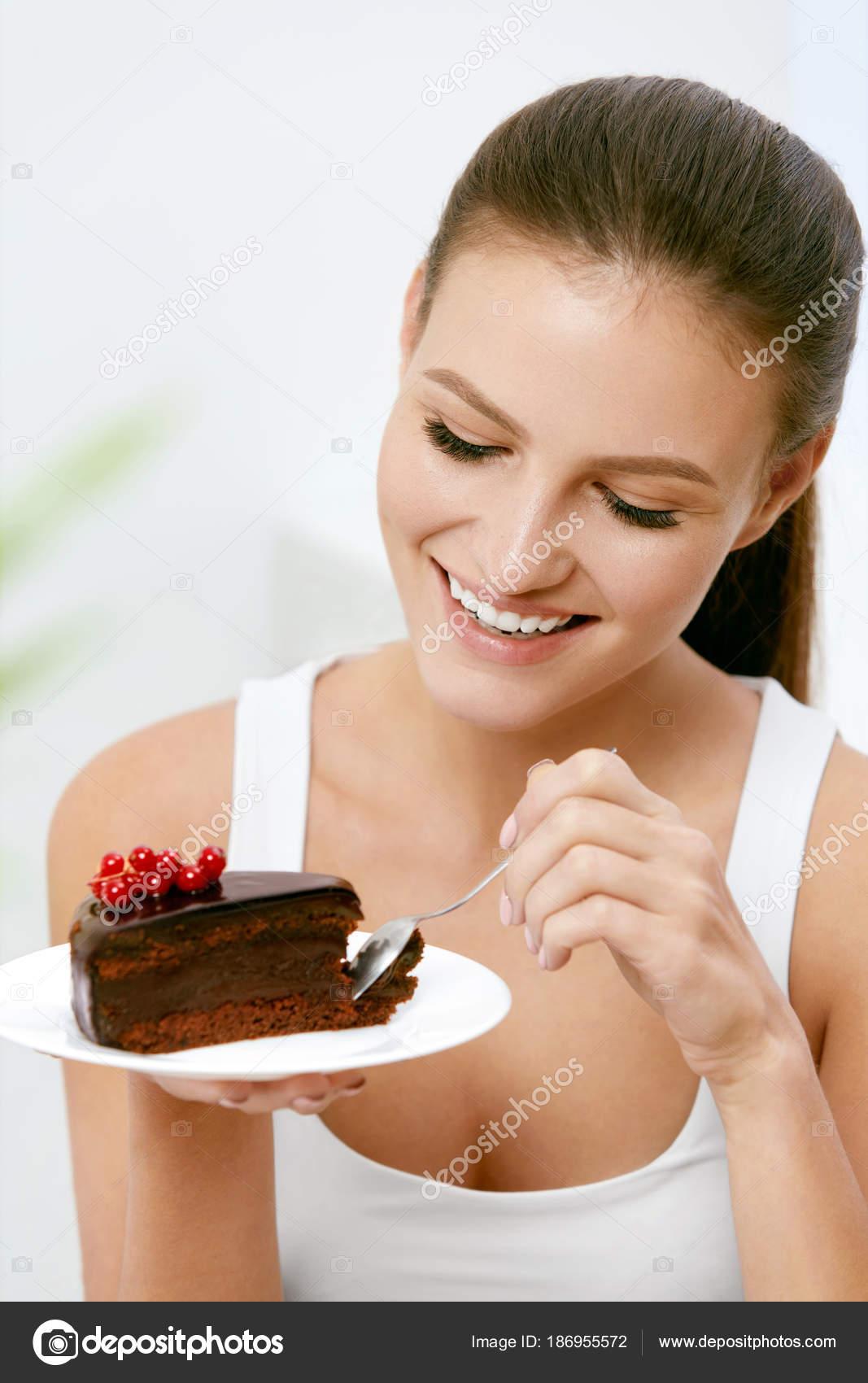 Frau Essen Kuchen Schone Weibliche Essen Dessert Stockfoto