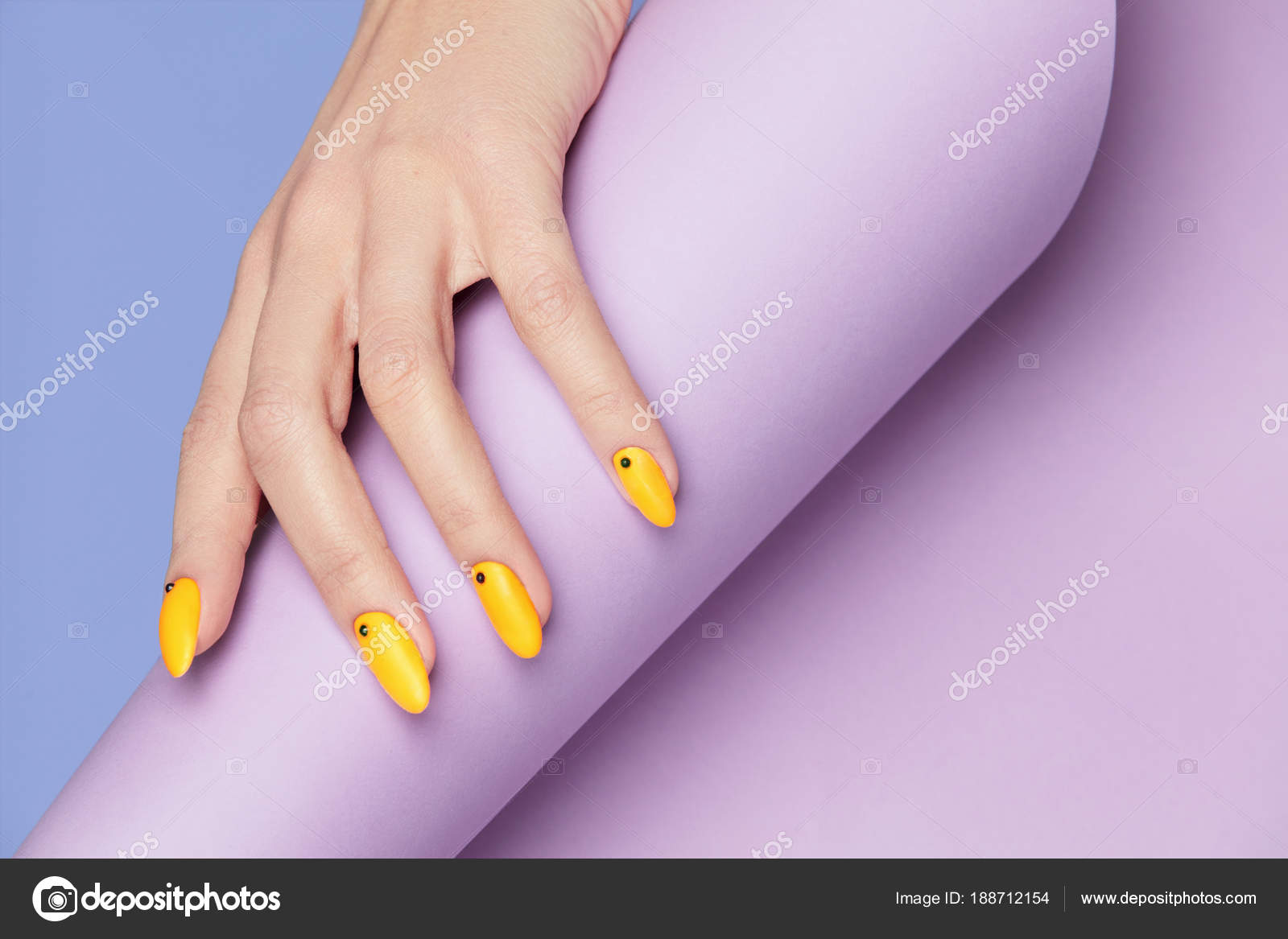 Nails Design. Hands With Bright Yellow Manicure — Stock Photo ...