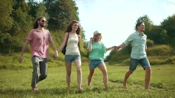 Friends On Weekend. Happy Young People Having Fun And Laughing While Walking In Nature.