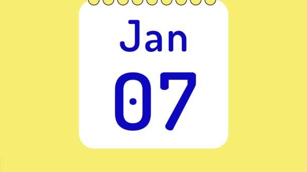 Animáció színes havi naptár januárra oldalak mozgó dátumok helyet a szöveg vagy logó.