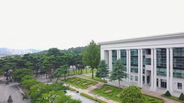 South Korea, Seoul- Jan-9, 2019: A beautiful aerial view of a building in between trees and green lawns