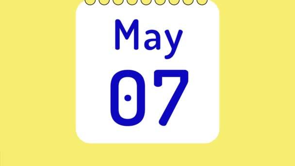 Animáció a színes havi naptár május oldalak mozgó dátumok helyet a szöveg vagy logó.