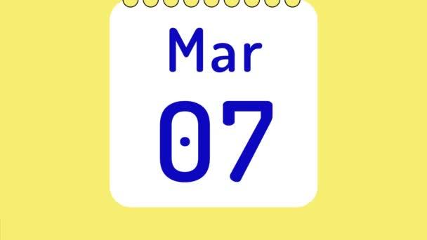 Animáció a színes havi naptár márciusban oldalak mozgásban dátumok helyet a szöveg vagy logó.