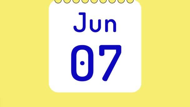 Animáció a színes havi naptár júniusban oldalak mozgásban dátumok helyet a szöveg vagy logó.
