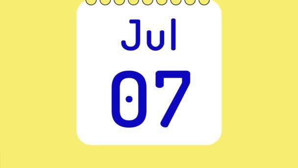 Animáció a színes havi naptár júliusban oldalak mozgásban dátumok helyet a szöveg vagy logó.