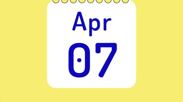 Animáció színes havi naptár áprilisban oldalak mozgó dátumok helyet a szöveg vagy logó.