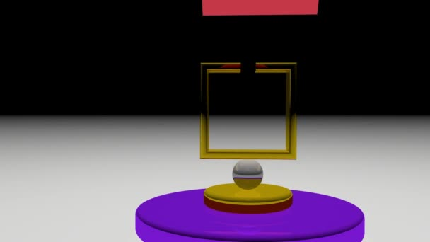 Pendulum back and forth movement of pyramid on a glassy colorful background