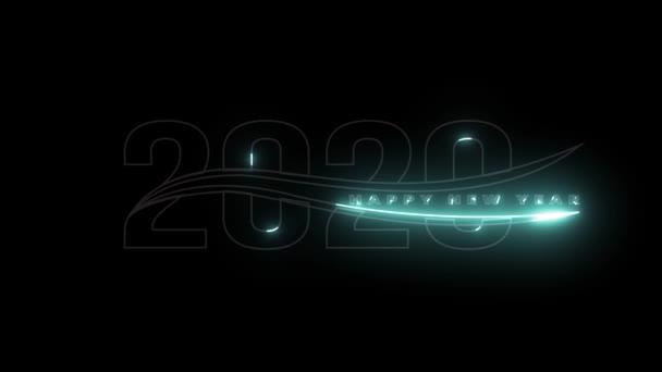 Šťastný nový rok pozdravy pro rok 2020 s elektrickými vypalovacími písmy