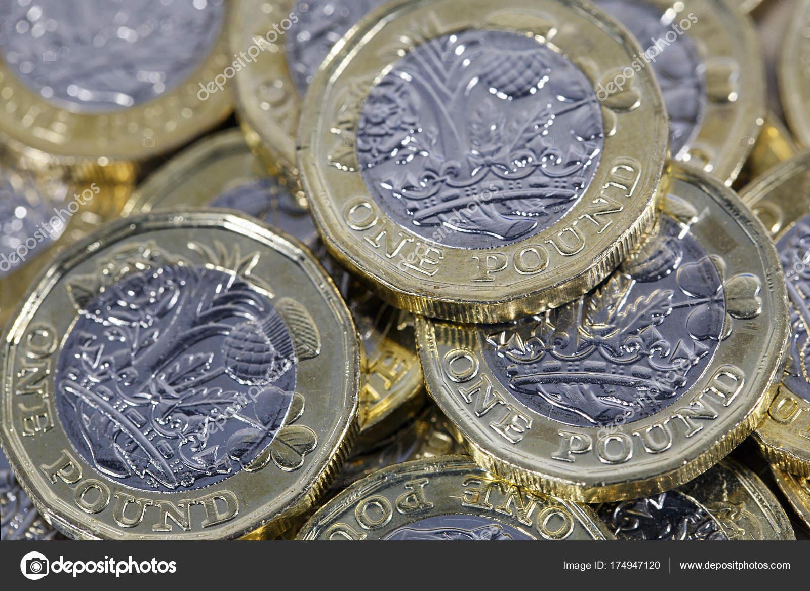 Ein Pfund Münzen Britische Währung Die Neue Bimetall Dodekaeder