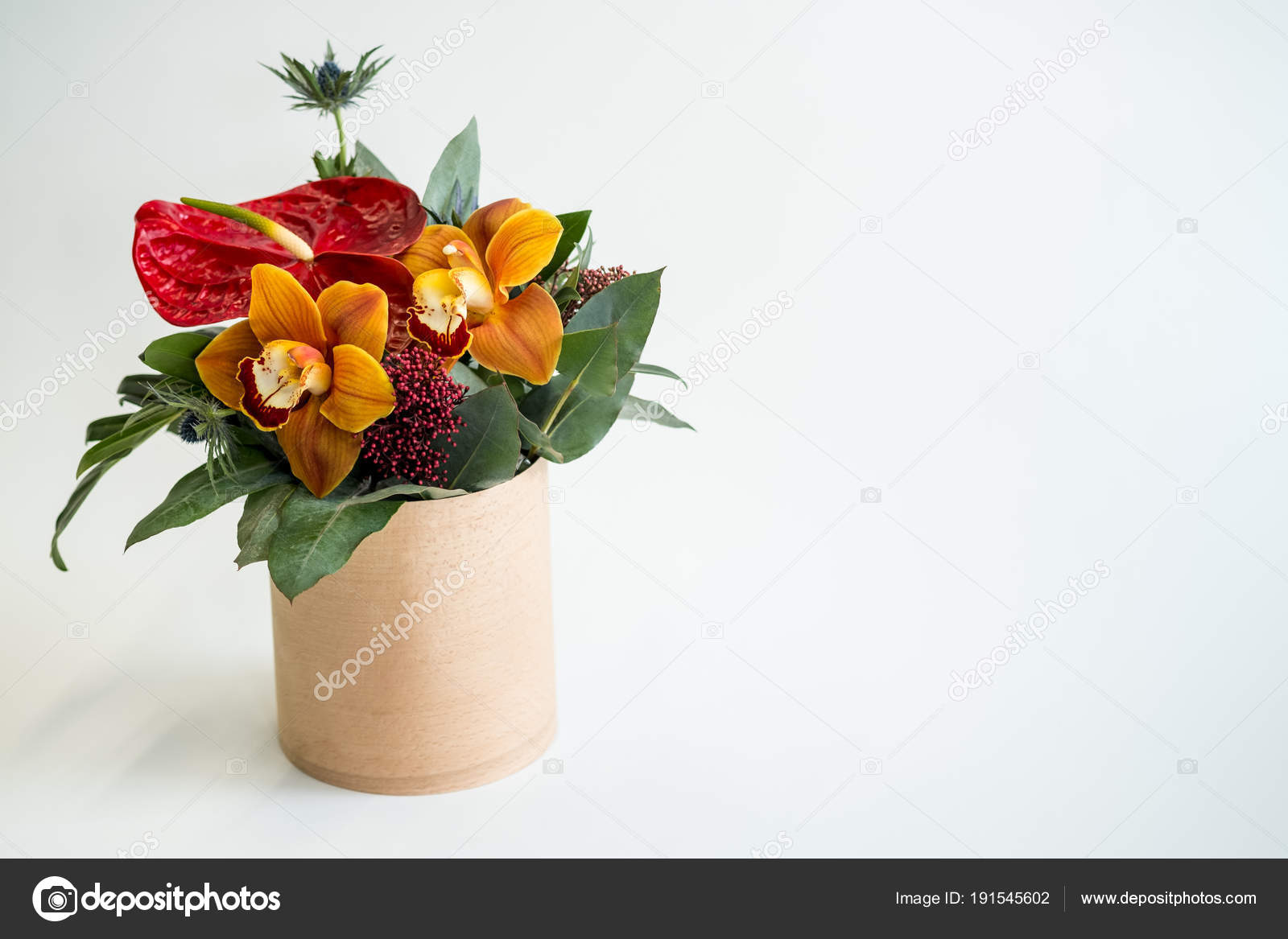 Color Flowers Bouquet Rustic Vase White Background Copy Space Stock Photo C Stockoholic 191545602