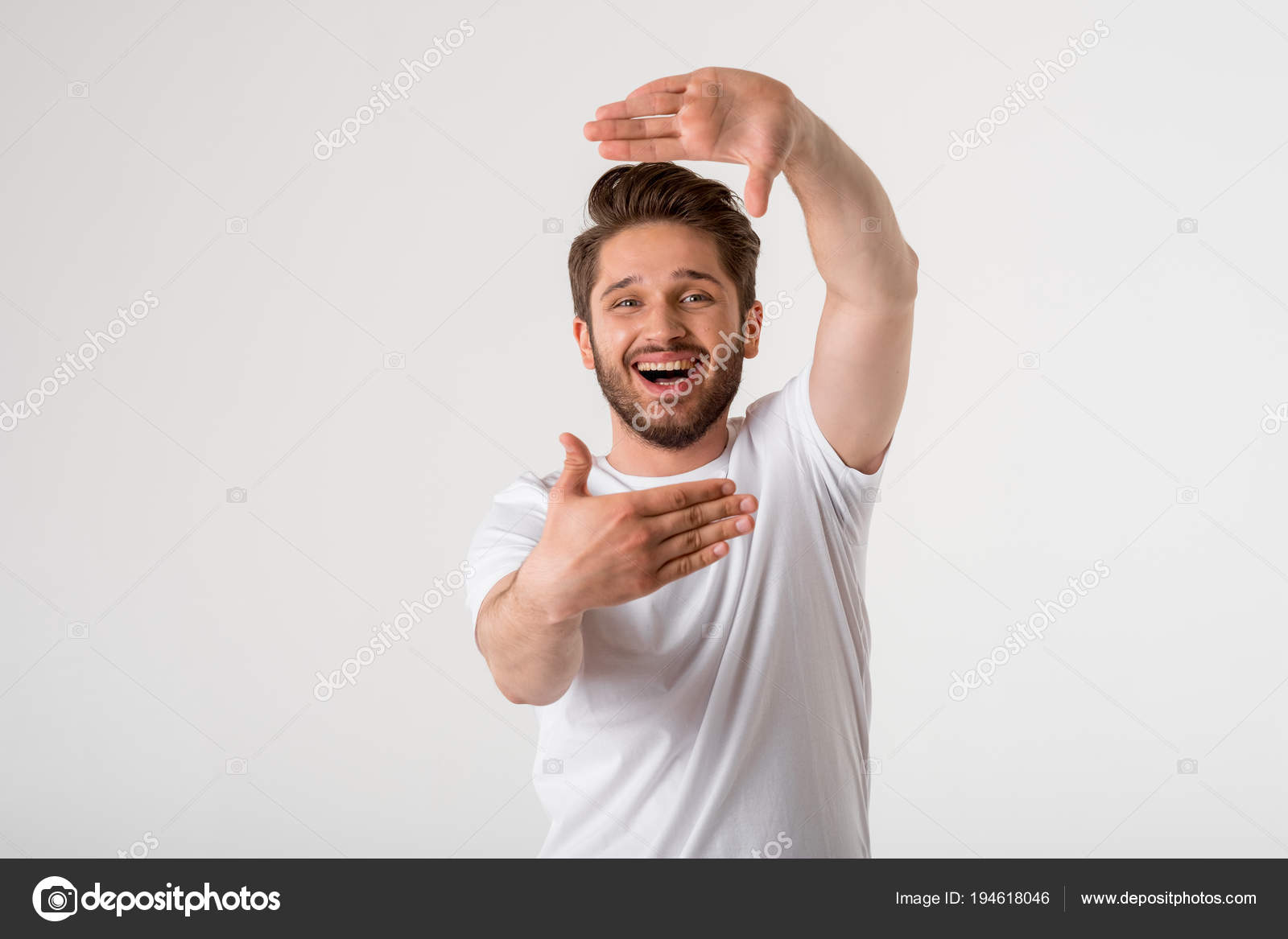 Portrait Happy Young Bearded Man Gesture Frame White Shirt Grey ...
