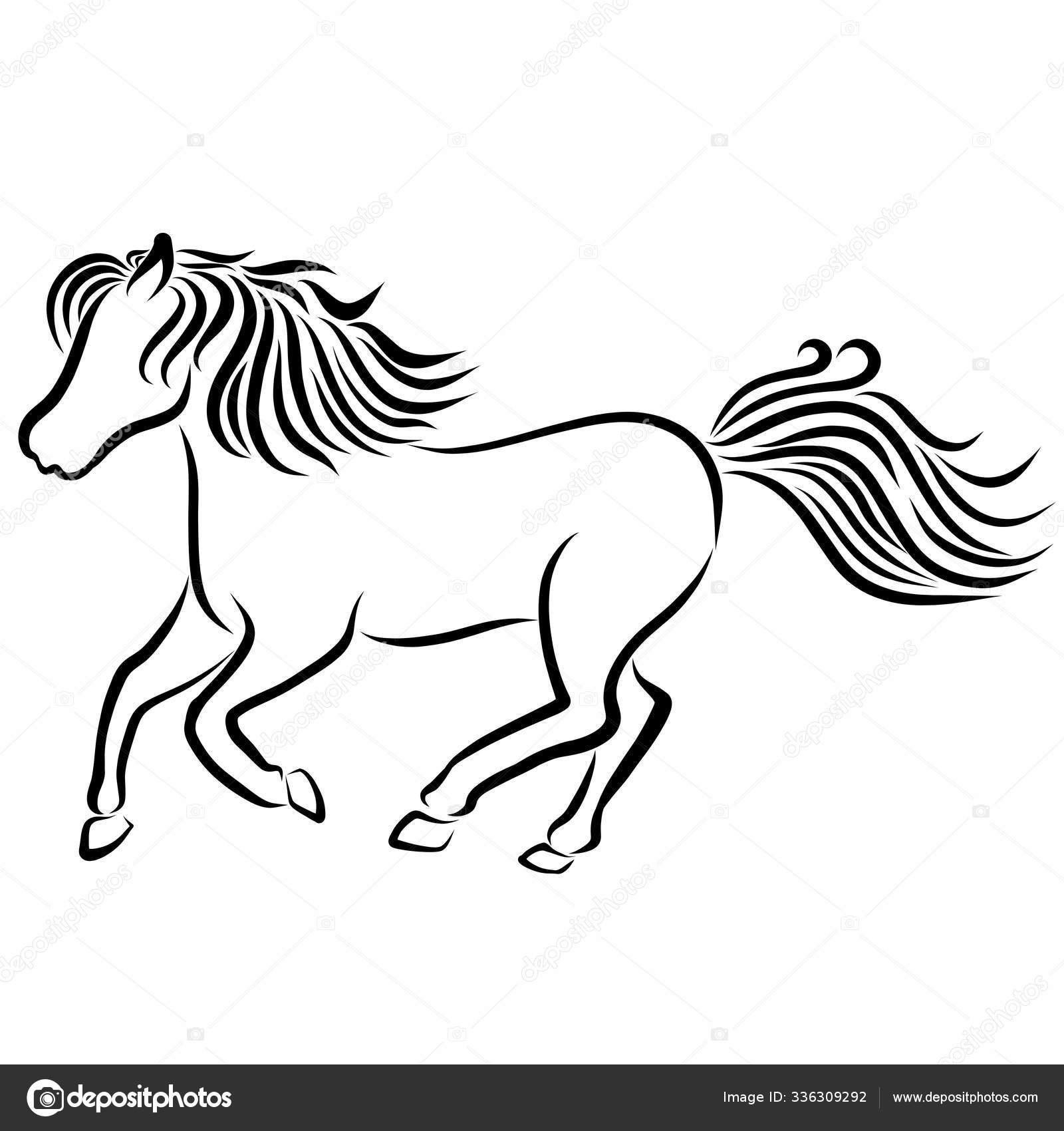 Running Horse Black Outline On A White Background Stock Photo C Yuliya Nazaryan 336309292