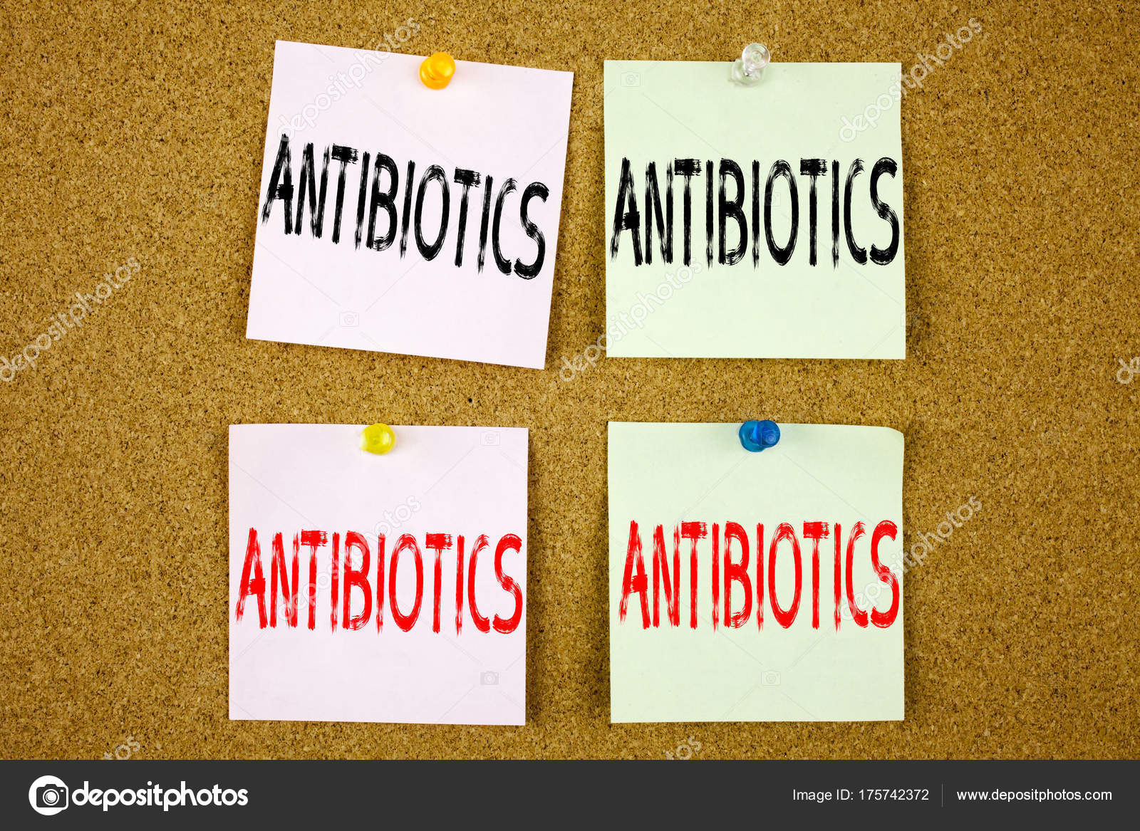 conceptual hand writing text caption inspiration showing antibiotics business concept for health care prescription drug medication on colourful sticky note
