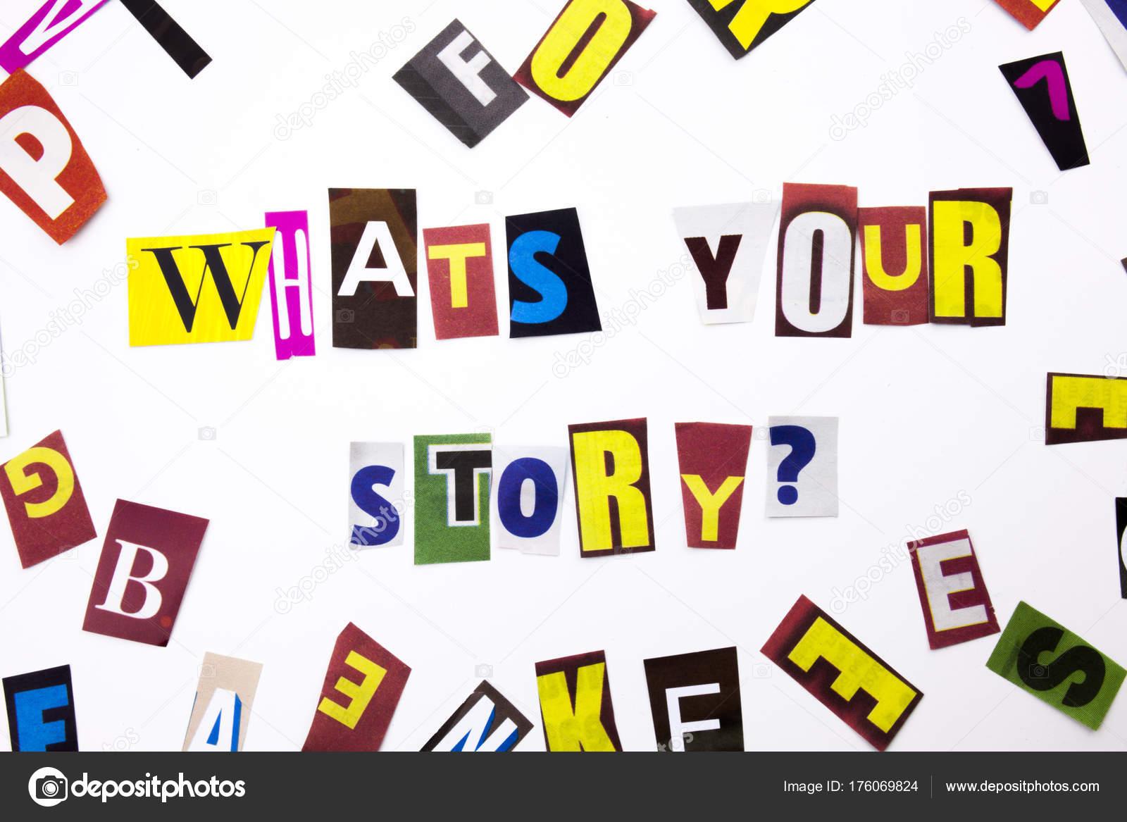 Ein Wort schreiben Text zeigt Konzept von dem, was Ihre Geschichte ...