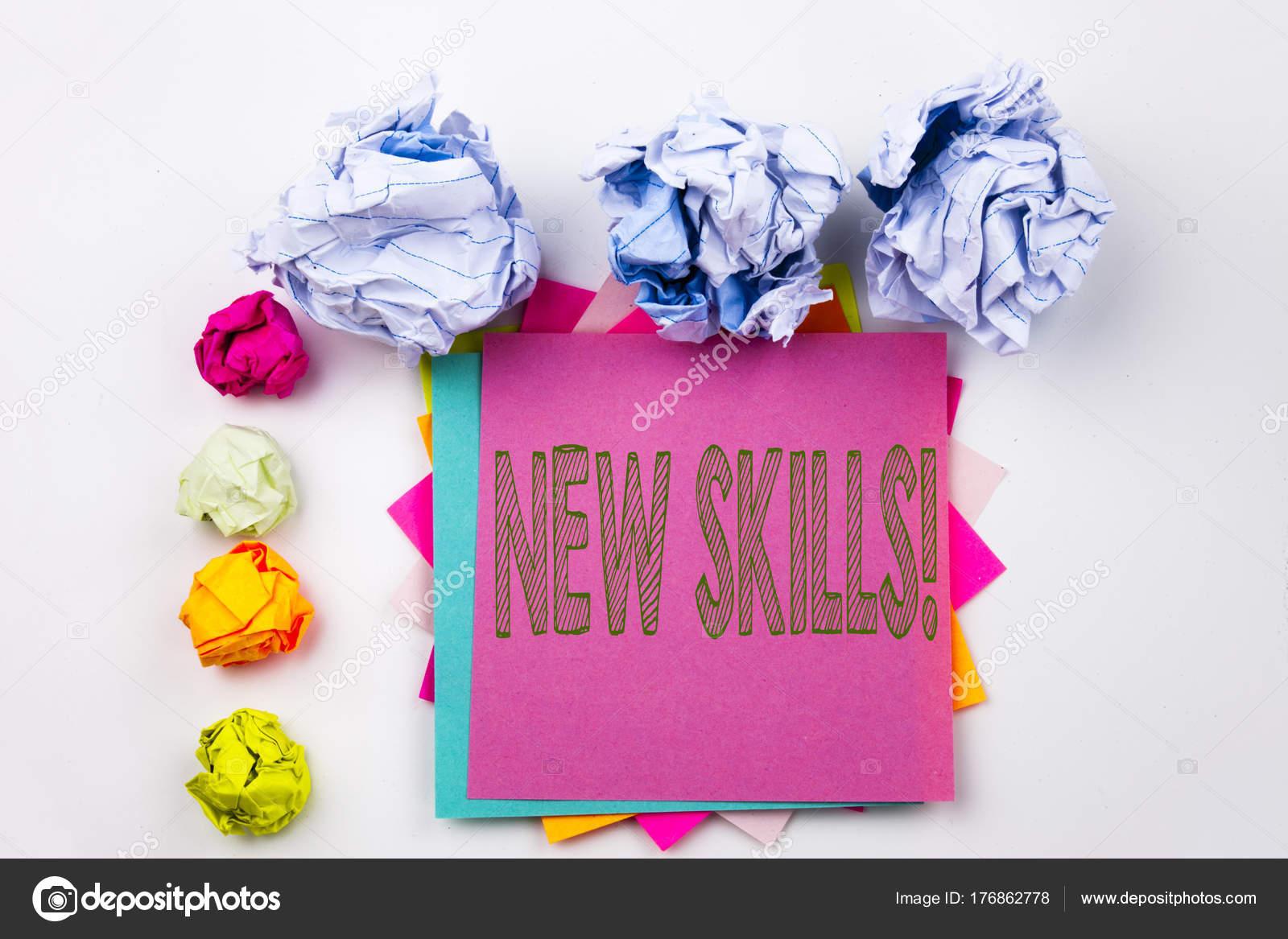 Escribir el texto que muestra nuevas habilidades en una nota ...