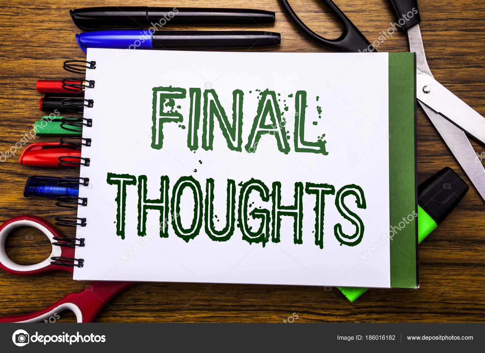 Conceptuales a mano escribir texto reflexiones finales Concepto de