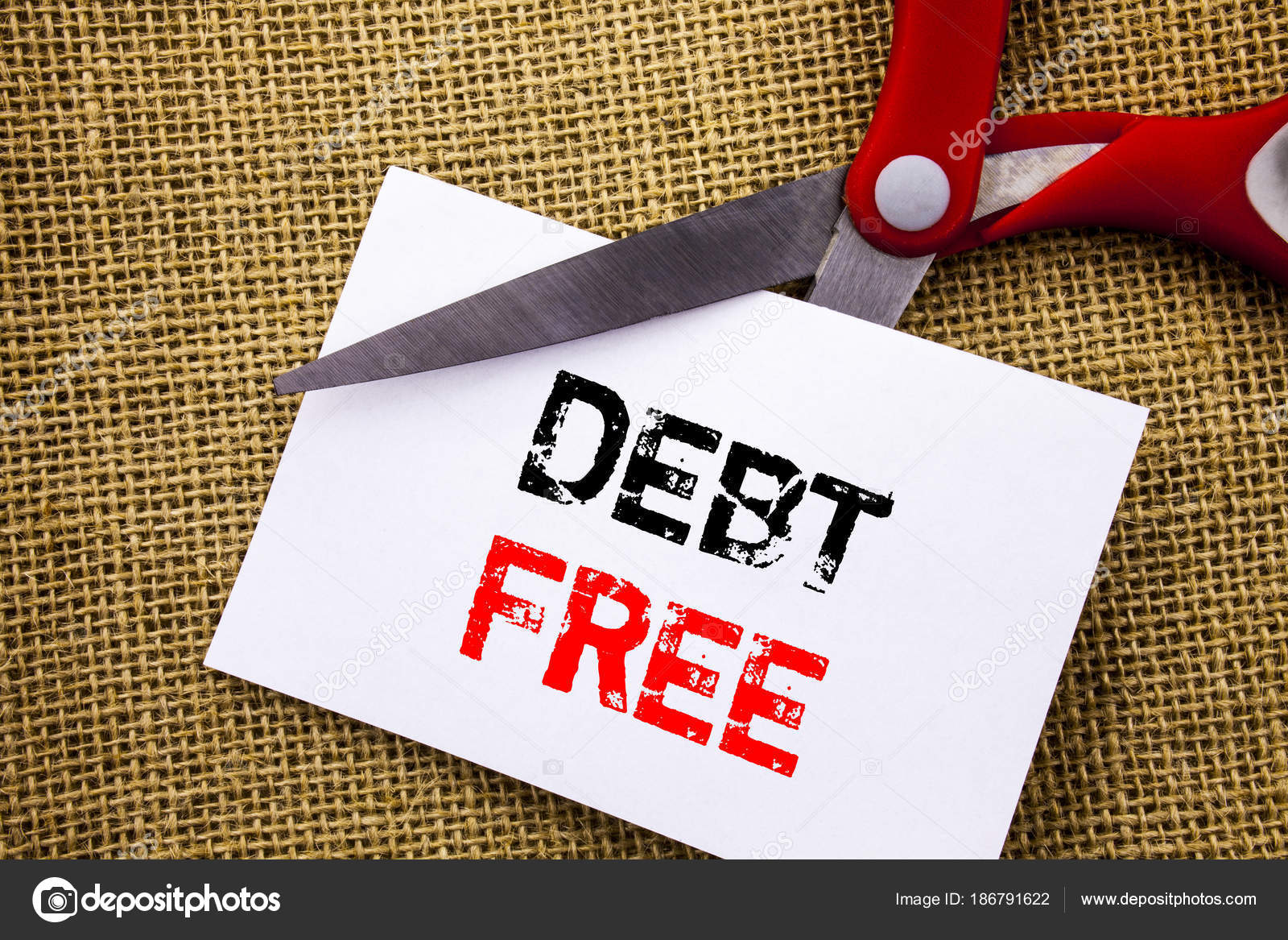 Handschrift-Text zeigt Schulden frei. Konzeptionelle Foto Kredit ...