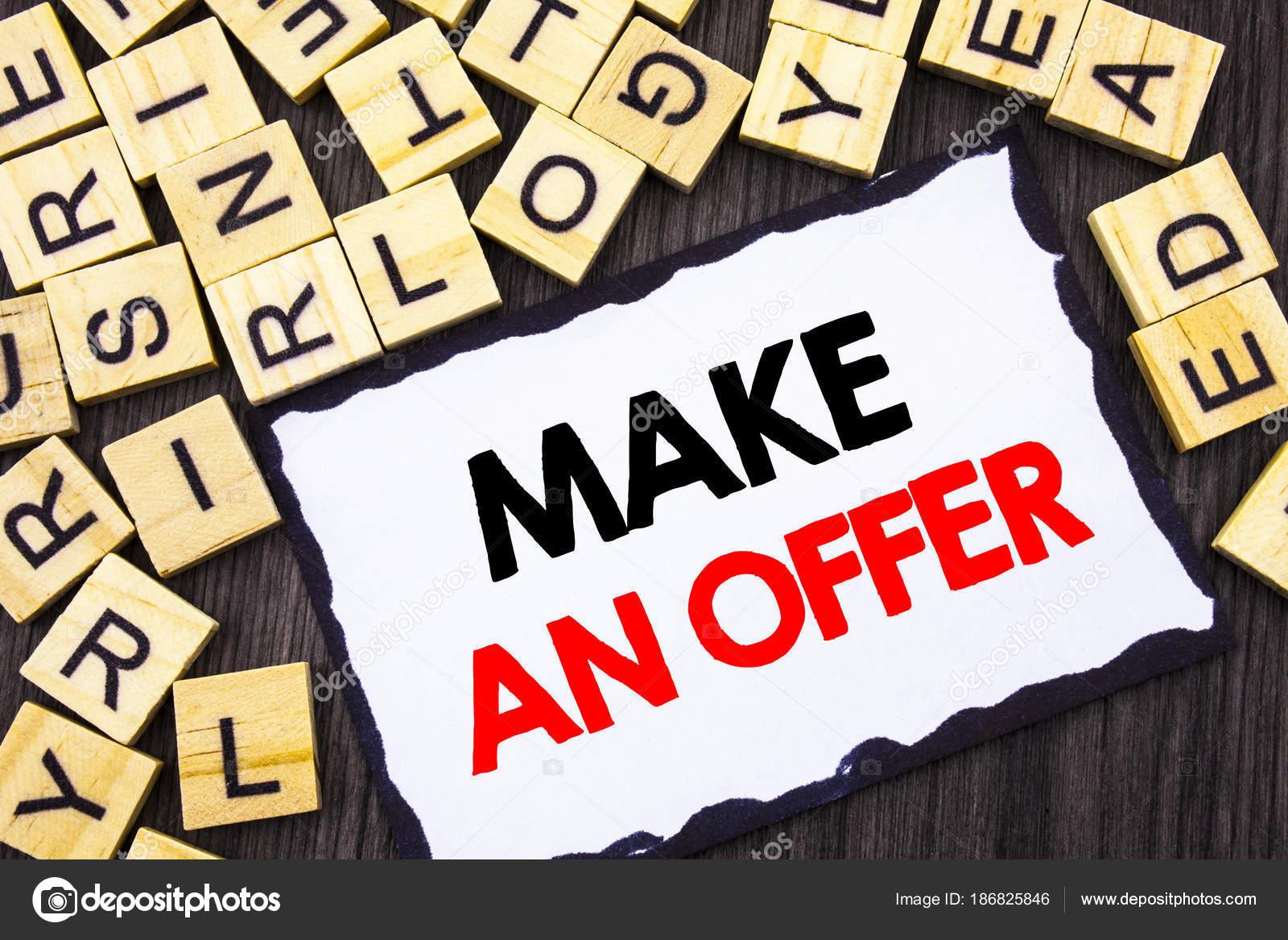 Wort Schrift Text Machen Ein Angebot Geschäftskonzept Für