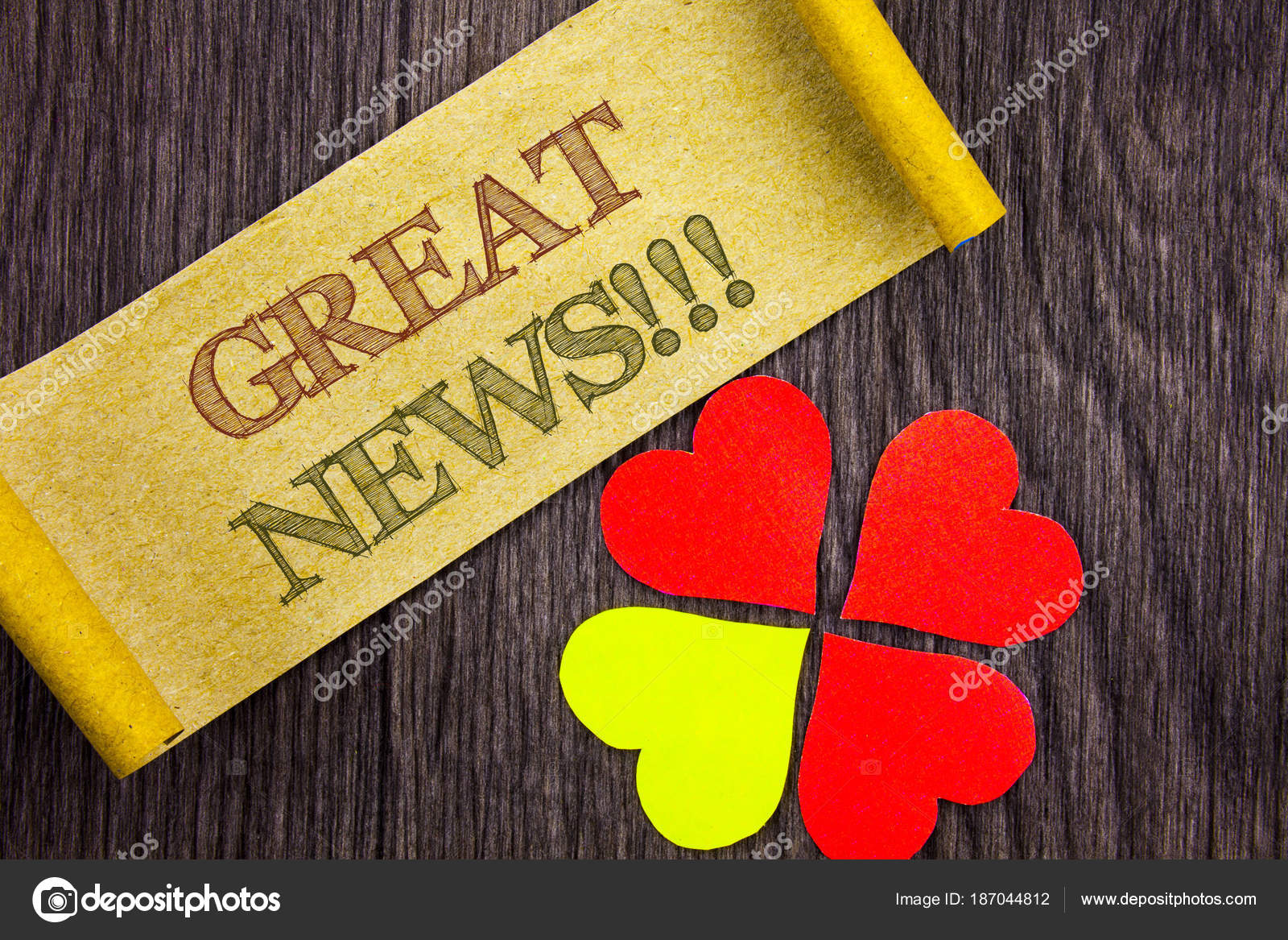 Word Writing Text Great News Conceptual Photo Success Newspaper Information Cele Tion Written Sticky Note Paper With Love Heart Next To It The Wooden