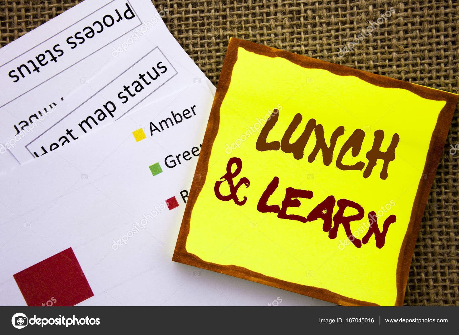 Handwritten text sign showing Lunch And Learn  Business