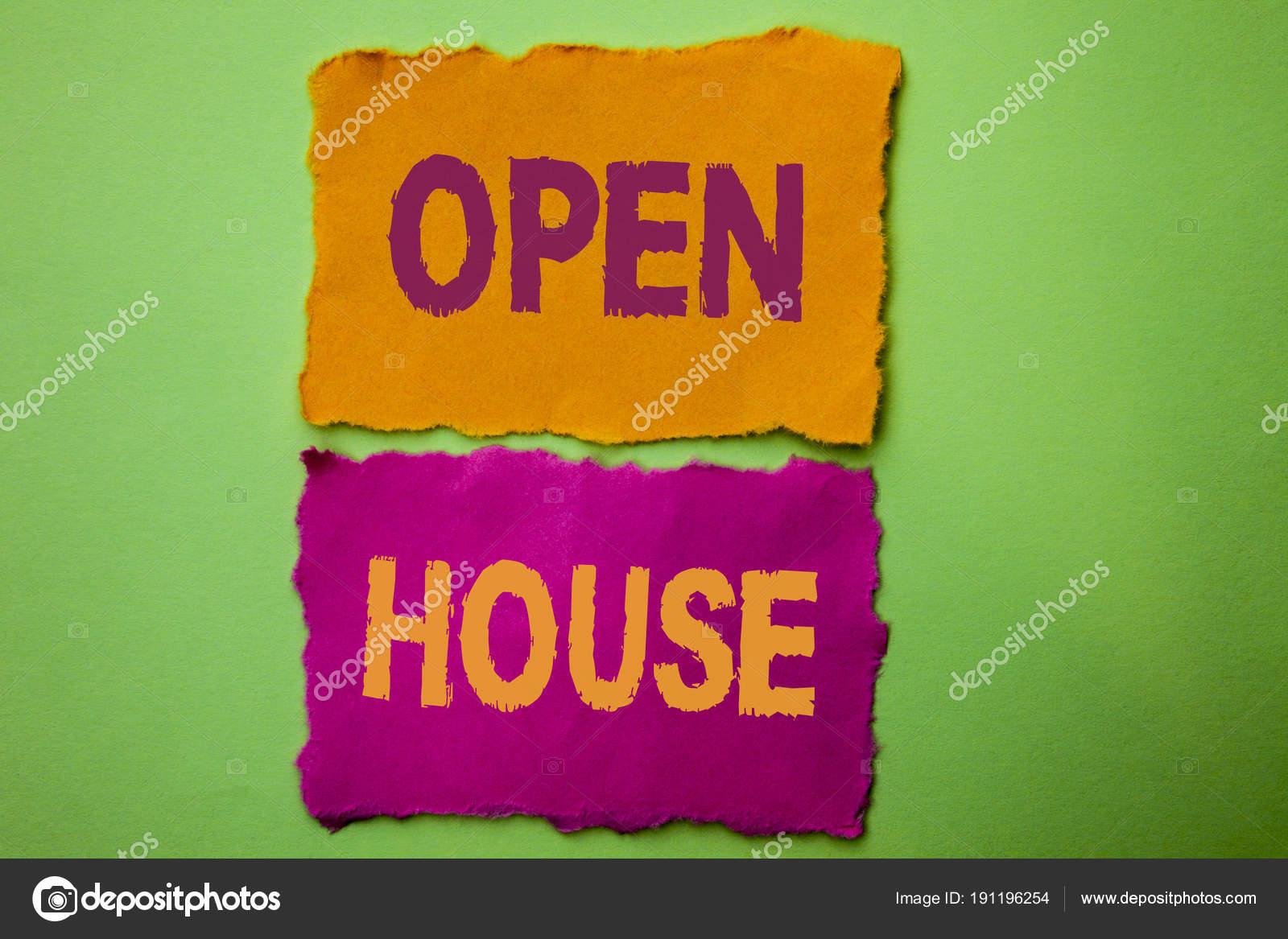 Handgeschreven tekst Open huis. Begrip betekenis Home eigenschap ...