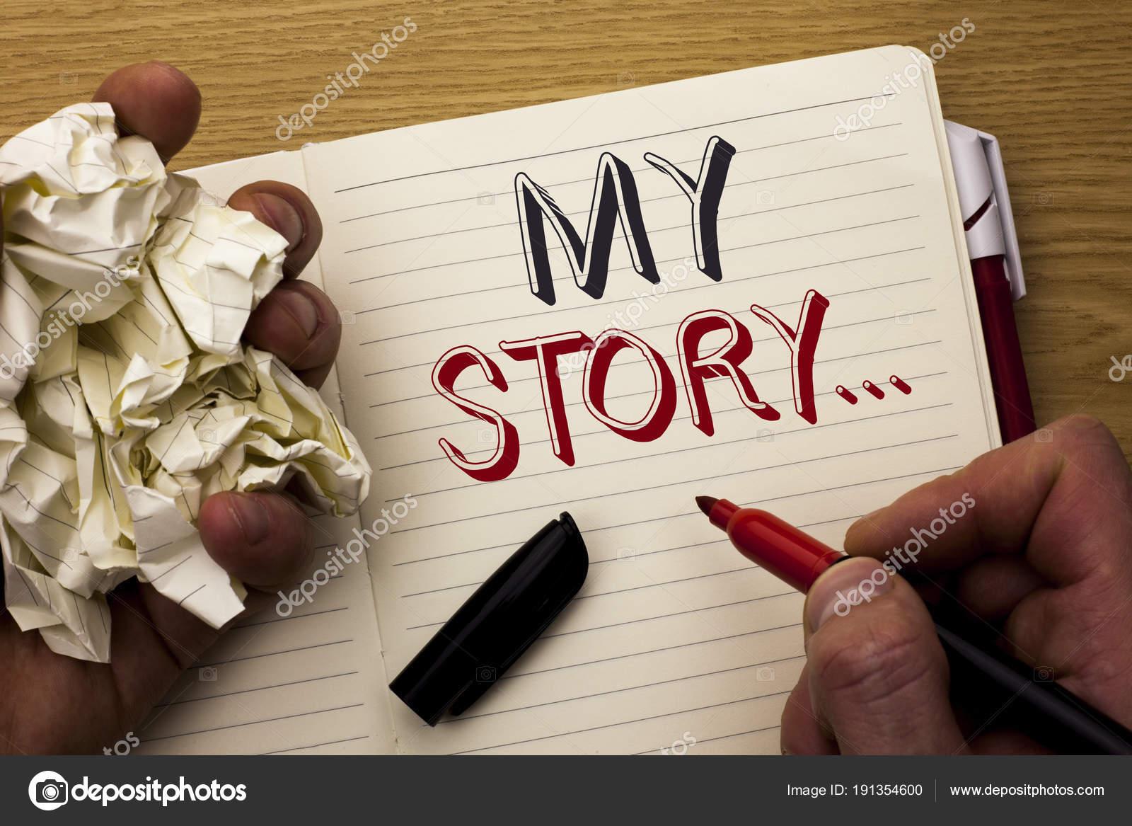 Handgeschreven tekst mijn verhaal... Begrip betekenis ...