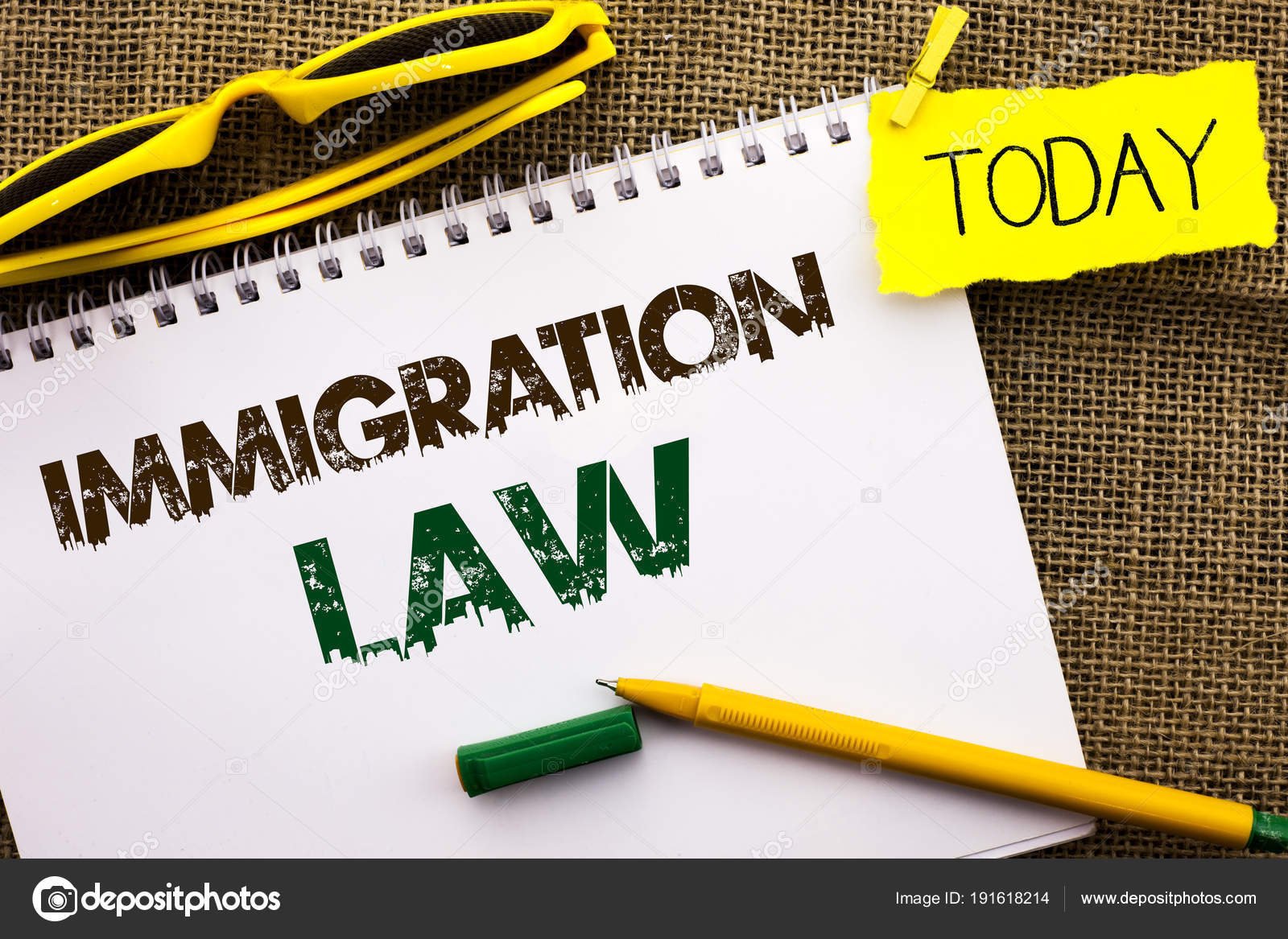 Conceptual hand writing showing Immigration Law  Business